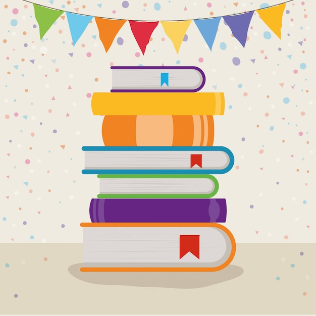 Group of books and pennant Free Vector