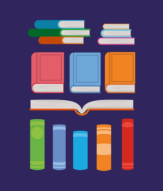 Group of books Free Vector