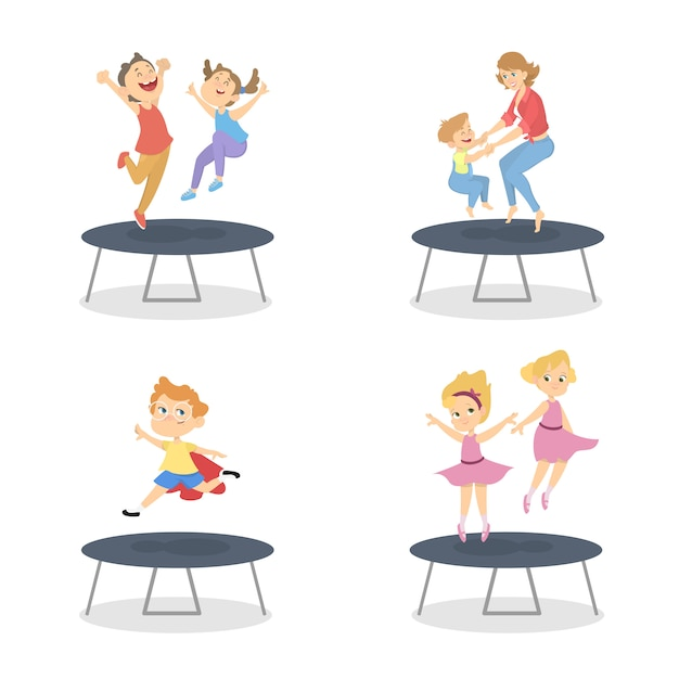 Group of boys and girls jumping on trampoline. summer activity. happy kids have fun.   illustration in cartoon style Premium Vector