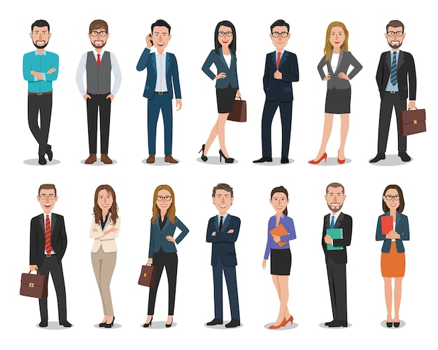 Group of business men and business women characters working in office Premium Vector