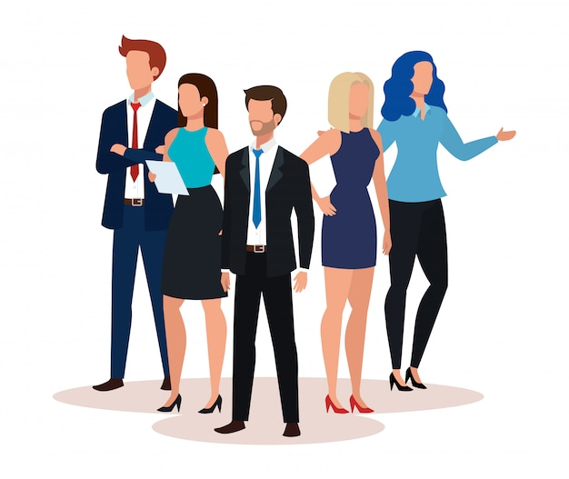 Group of business people avatar character Free Vector
