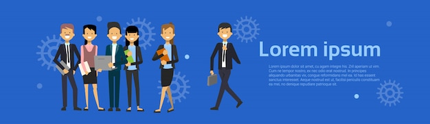 Group of business people businessman and businesswoman cartoon standing Premium Vector