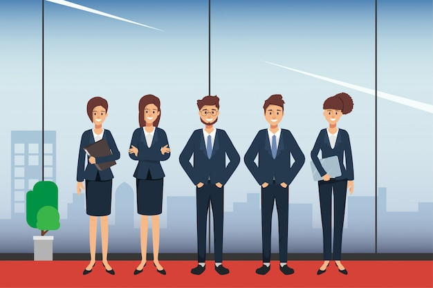 Group of business people character seminar scene in office. Premium Vector