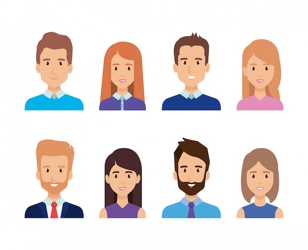 Group of business people characters Free Vector