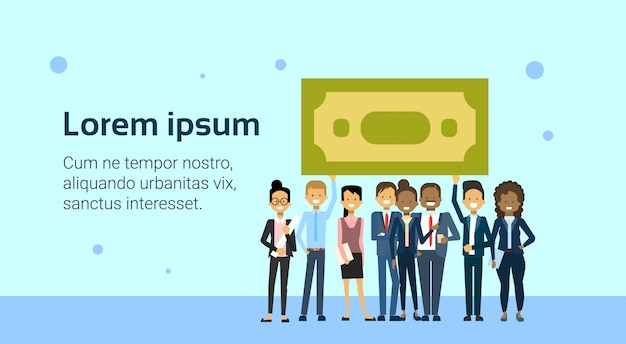 Group of business people holding dollar coins investment, money or salary concept banner template Premium Vector