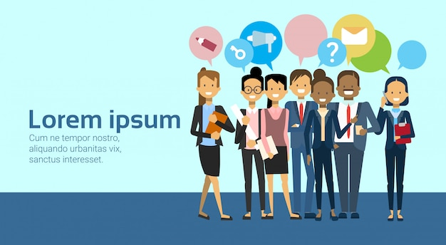 Group of business people over network and marketing icons in chat bubbles background Premium Vector