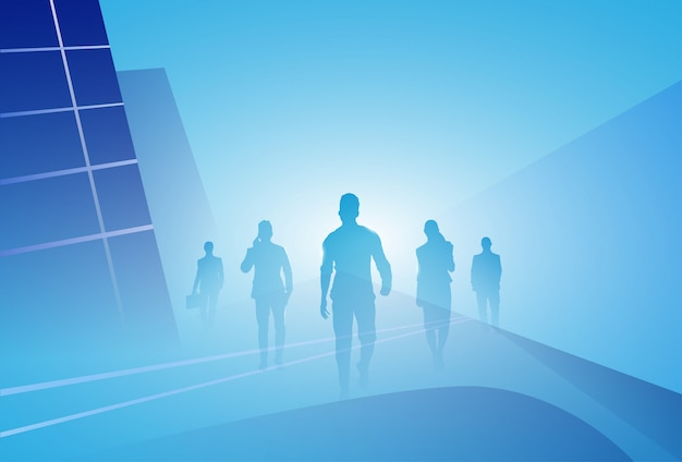 Group of business people silhouette businesspeople walk step forward over abstract background Premium Vector