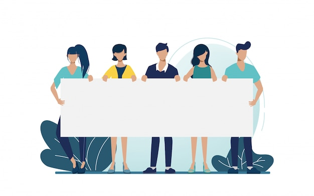 Group of business people teamwork holding big banner blank space character. promoting for business campaign. Premium Vector