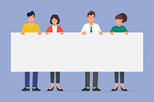 Group of business people teamwork holding big banner blank space character. Premium Vector