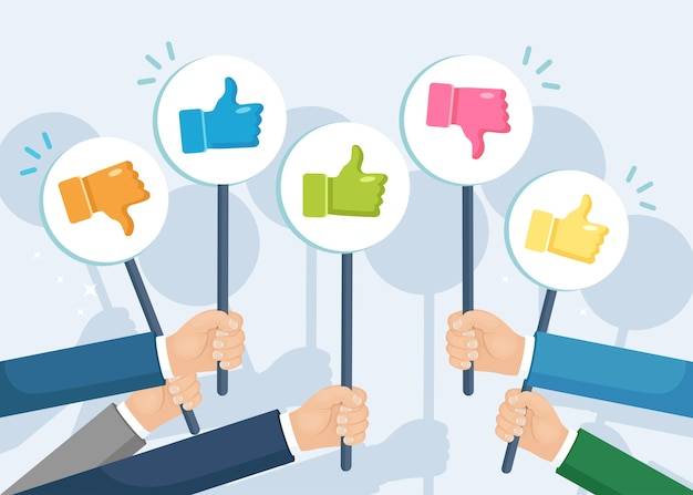 Group of business people with thumbs up. social media. good opinion. testimonials, feedback, customer review concept. Premium Vector