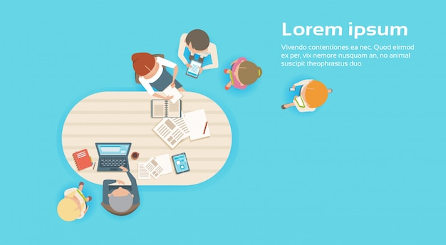 Group of business people working together creative team brainstorming top angle view Premium Vector