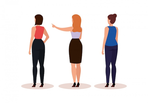 Group business women of back avatar character Free Vector