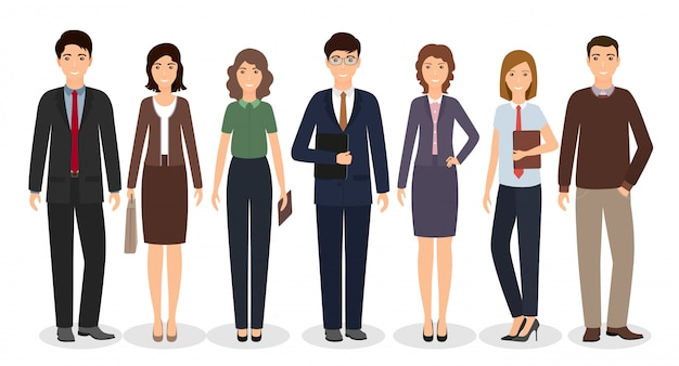 Group of business working people standing together on white background. office employee in different poses. Premium Vector