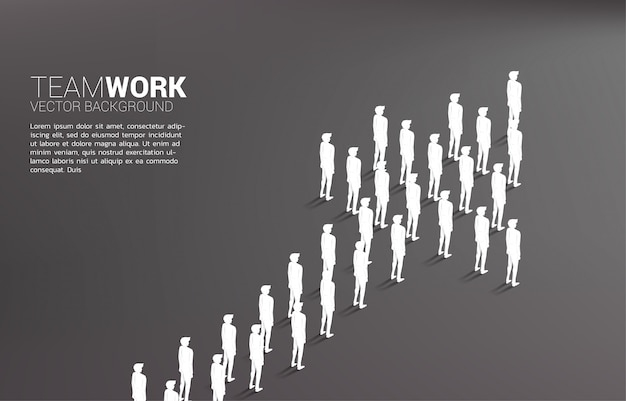 Group of businessman standing together shape arrow. Premium Vector