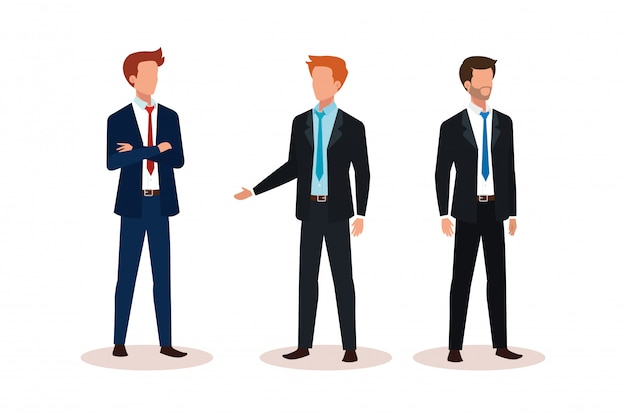 Group of businessmen avatar character Free Vector