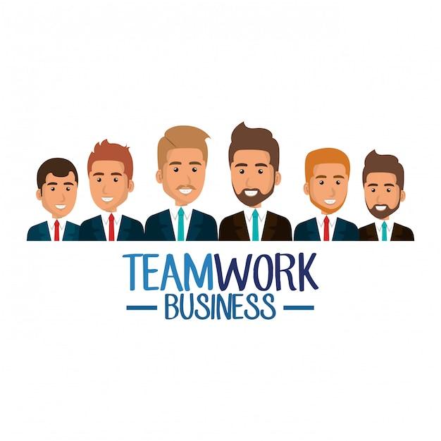 Group of businessmen teamwork illustration Free Vector