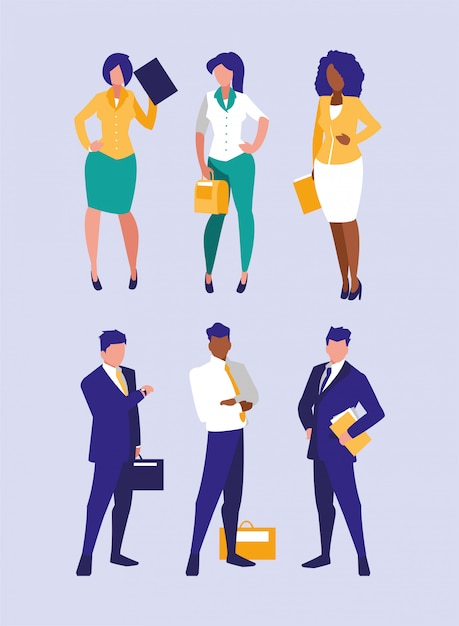 Group of businesspeople illustration Premium Vector