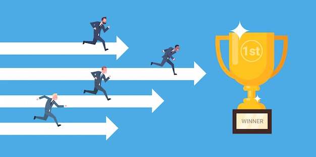 Group of businesspeople running on arrows to golden cup business winner, leadership and competition Premium Vector
