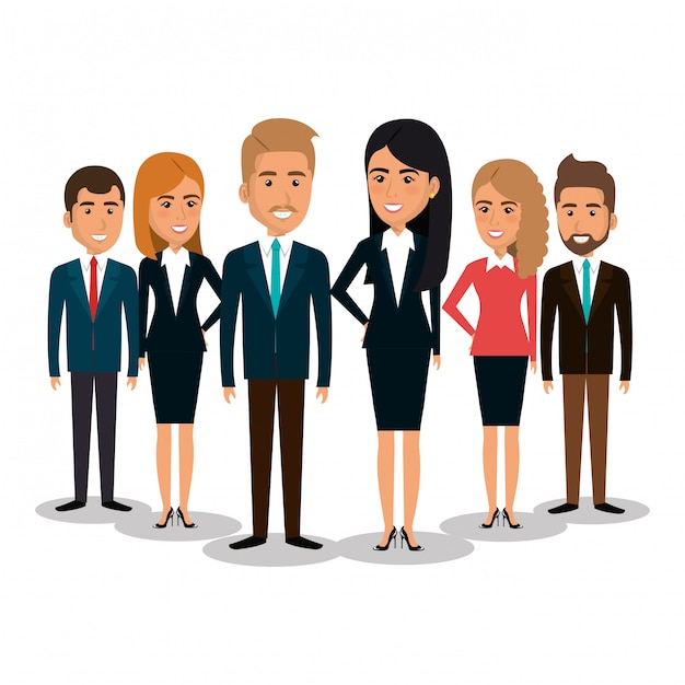 Group of businesspeople teamwork illustration Free Vector