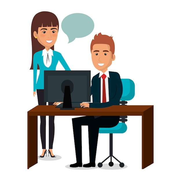 Group of businesspeople teamwork in workplace illustration Free Vector