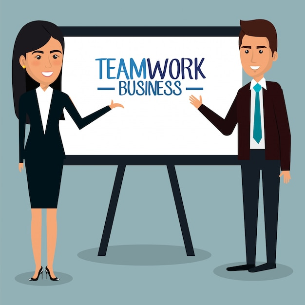 Group of businesspeople with paperboard teamwork illustration Free Vector