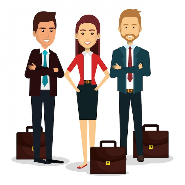 Group of businesspeople with portfolio teamwork illustration Free Vector