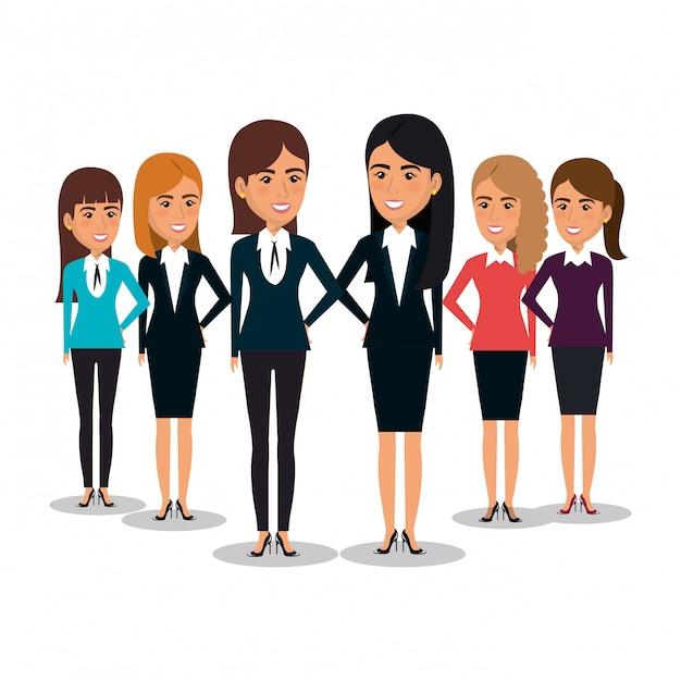 Group of businesswomen teamwork illustration Free Vector