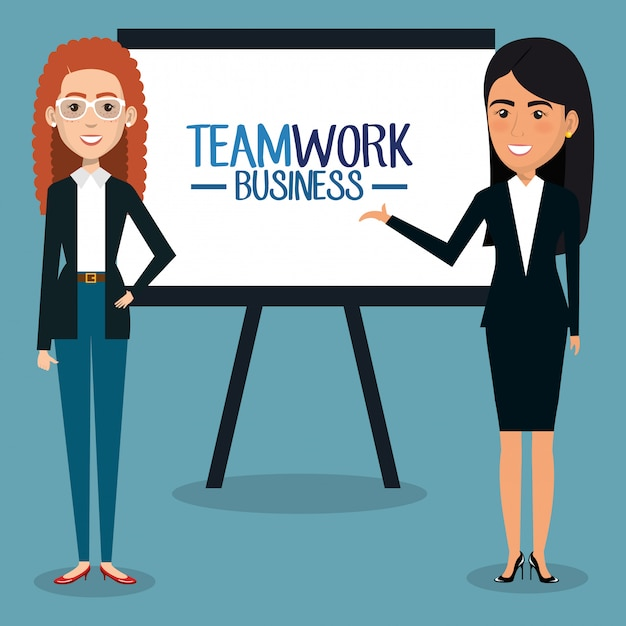 Group of businesswomen with paperboard teamwork illustration Free Vector