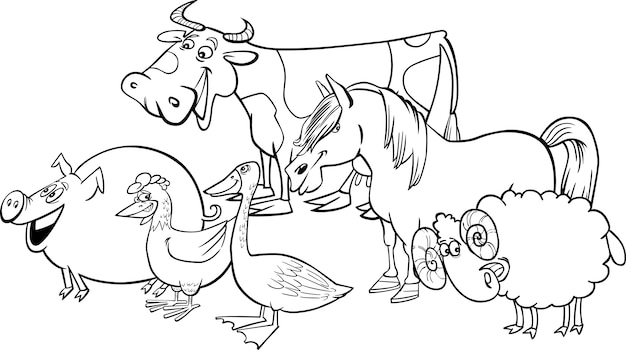 barnyard cartoon coloring pages | Group of cartoon farm animals for coloring Vector ...