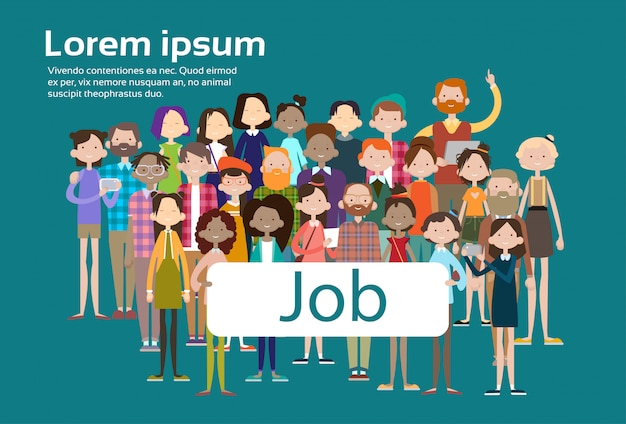 Group casual people crowd ethnic mix race businesspeople search job umployment Premium Vector
