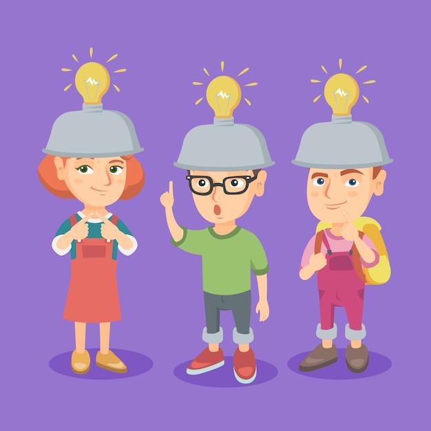 Group of caucasian children with idea light bulbs. Premium Vector