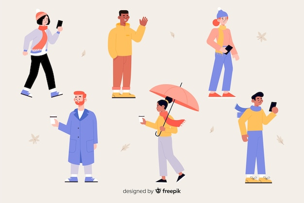 Group of character wearing autumn clothes Free Vector