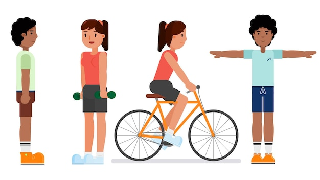 Group of characters isolated vector illustration Premium Vector