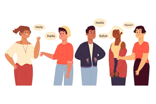 Group of characters talking in different languages Free Vector