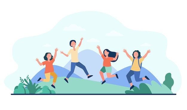 Group of cheerful kids playing outdoors. Free Vector