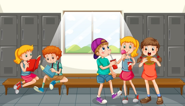 Group of children at changing room Free Vector