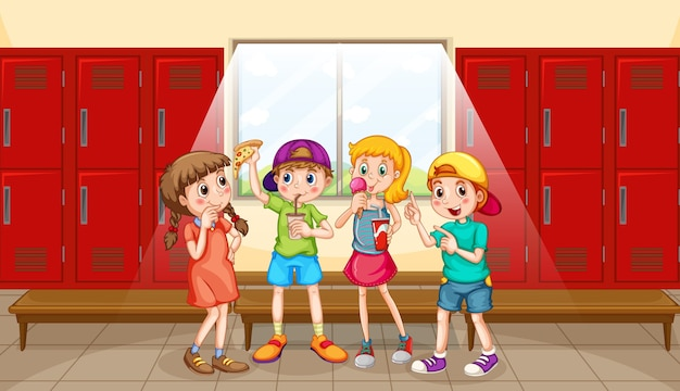 Group of children at changing room Premium Vector