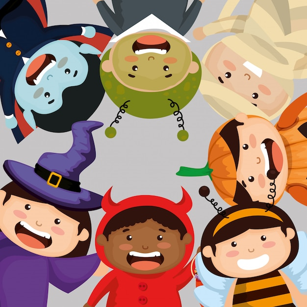 Group of children frame dressed up in halloween Free Vector