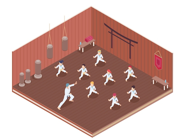 Group of children having martial arts classes in gym 3d isometric vector illustration Free Vector