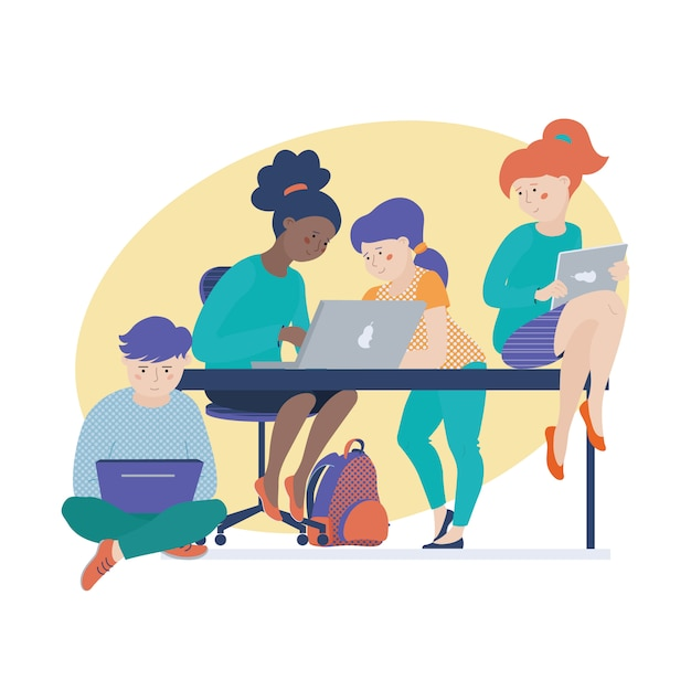 Group of children, kids, boy and girls working on computers Premium Vector