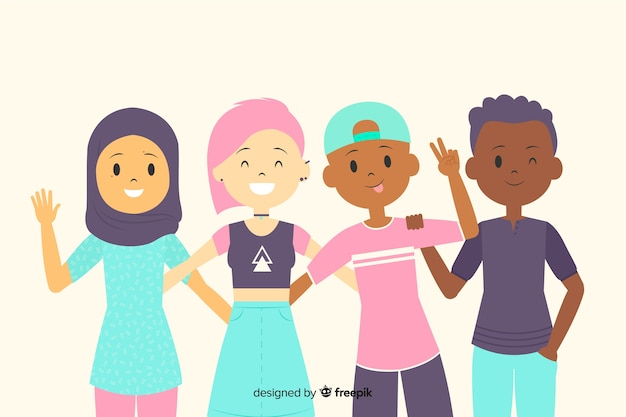 Group of children posing for photo Free Vector