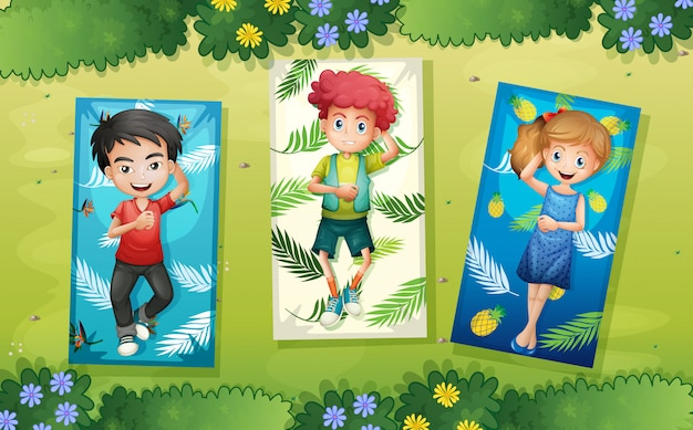 A group of children relaxing at the park Premium Vector