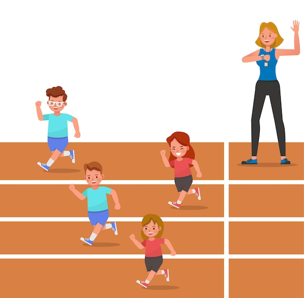 Group of children running on the track of stadium character Premium Vector