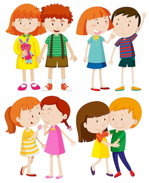 Group of children on white background Free Vector