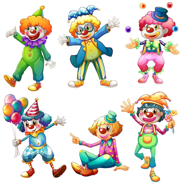 A group of clowns Free Vector