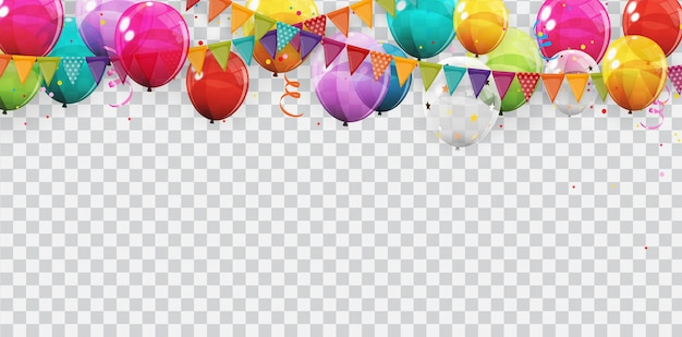 Group of colour glossy helium balloons background. set of  balloons for birthday, anniversary, celebration  party decorations. Premium Vector