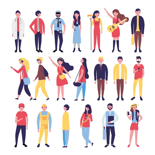 Group of community people bundle characters Free Vector
