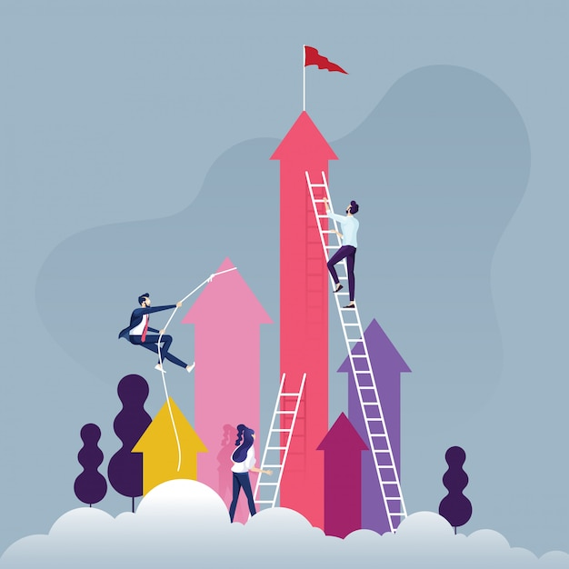 Group of competitive business people climbing the ladder on a cloud Premium Vector