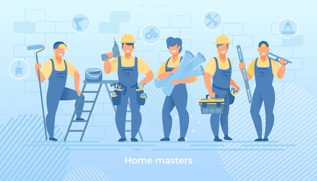 Group of construction engineers in robe with tools Premium Vector