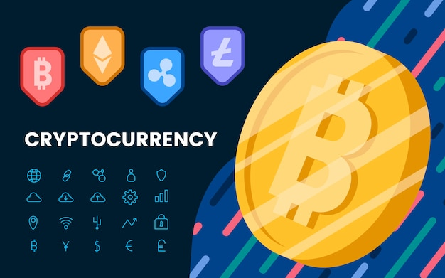 Group of cryptocurrencies electronic cash symbol vector Free Vector